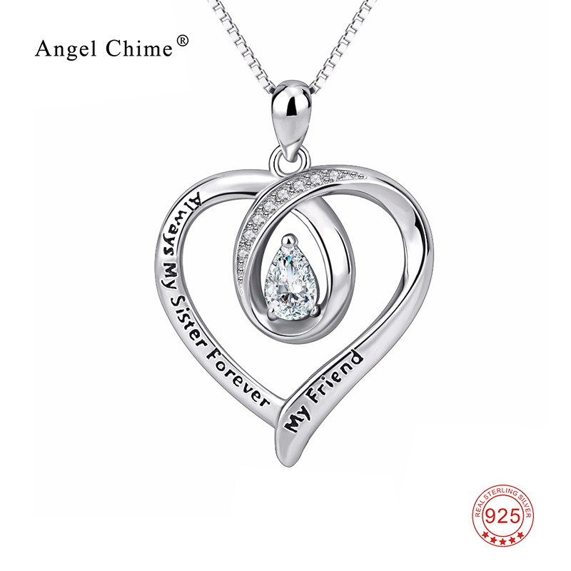 Always My Sister Forever My Friend Heart Letter Pendant 925 Sterling Silver CZ Crystal Love Statement Necklaces Friends Gift bosch my friend mix 20