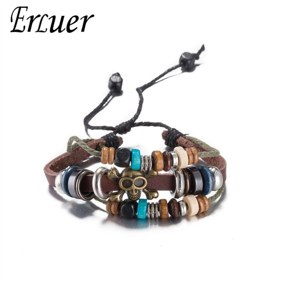 Vintage Beaded Skull Chain Multilayer Leather Bracelet Fashion Braided Handmade Rope Wrap Bracelets & Bangles Male Female Gifts