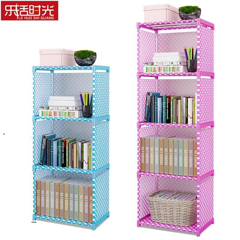 Simple Multi-Tier Bookshelf Creative Storage Shelf for Books Plants Sundries DIY Combination Cabinet Fabric Children Bookcase bookshelf racks simple creative desk small bookcase