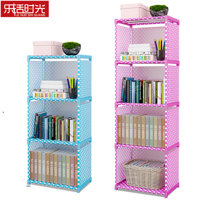 Simple Multi Tier Bookshelf Creative Storage Shelf For Books Plants Sundries DIY Combination Cabinet Fabric