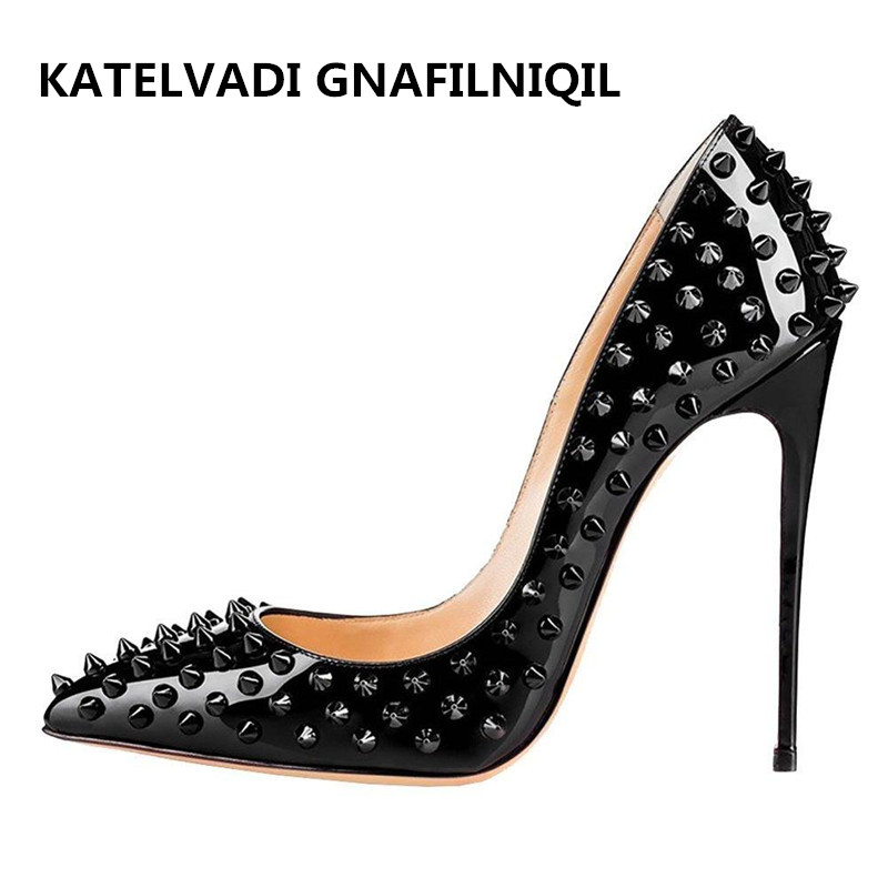 size 34 43 women pumps rivets shoes woman high heels. Black Bedroom Furniture Sets. Home Design Ideas