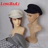 冬無地白ウールフェルトベレーキャップ用女性バイザー男性ミリタリー帽子送料無料BMDW003