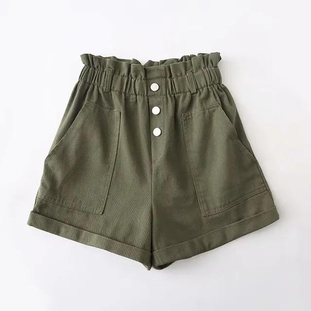 High waist Womens loose Shorts Black Pink Army Denim Shorts Fashion Streetwear summer Wide leg jeans Short for Women 2019