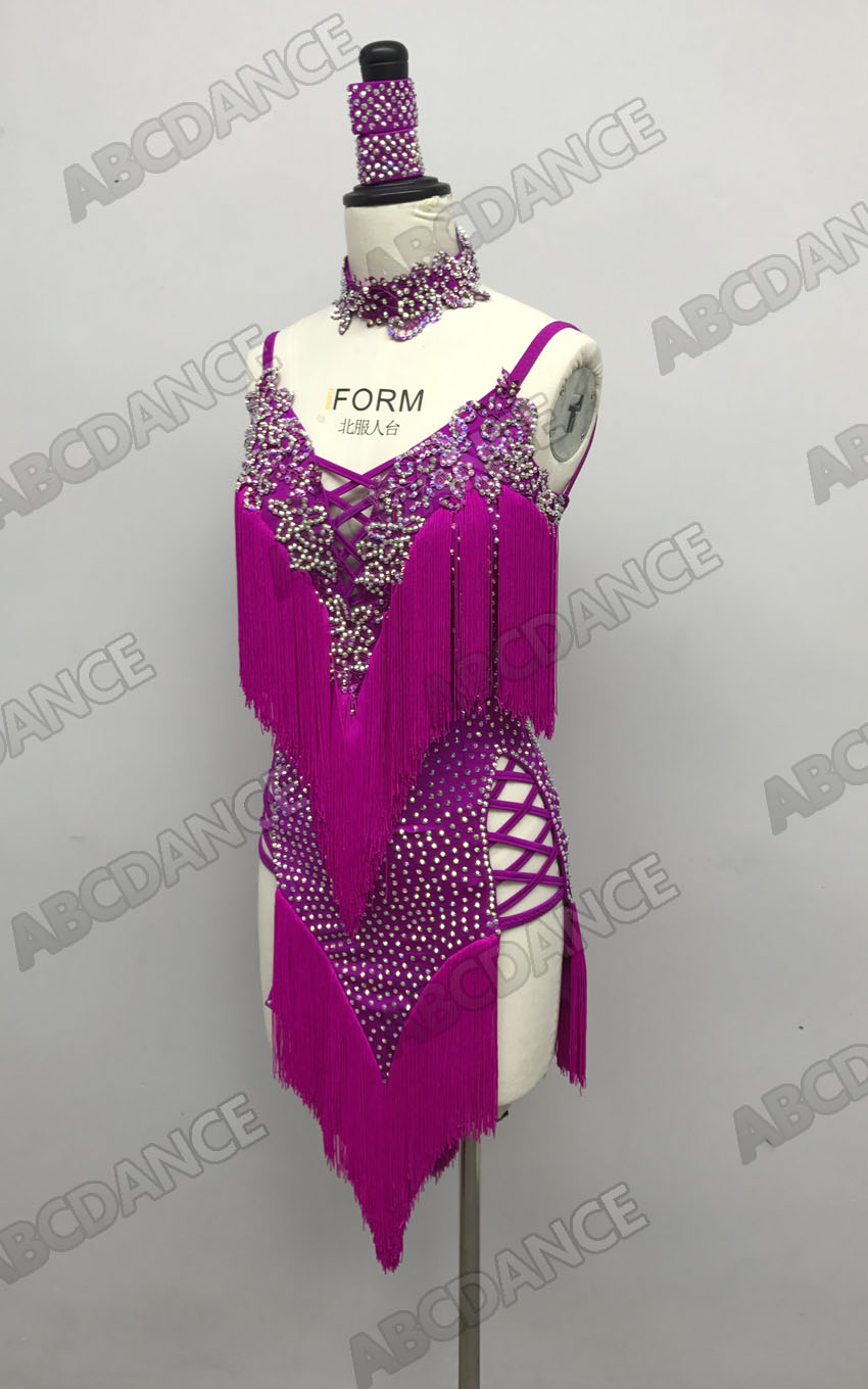 Latin Dance Dress Sexy Fringe New Style Costume Latin Dance Dresses Clothes  Salsa Dance Clothing Tassel Hot Pink
