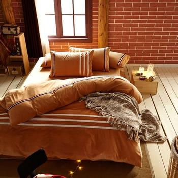 Warm Bed Sheets Fleece fabric Bedding Sets Color stripe Queen Duvet Cover winter Desinger Bed Lines Bed Cover Linen Home Bed