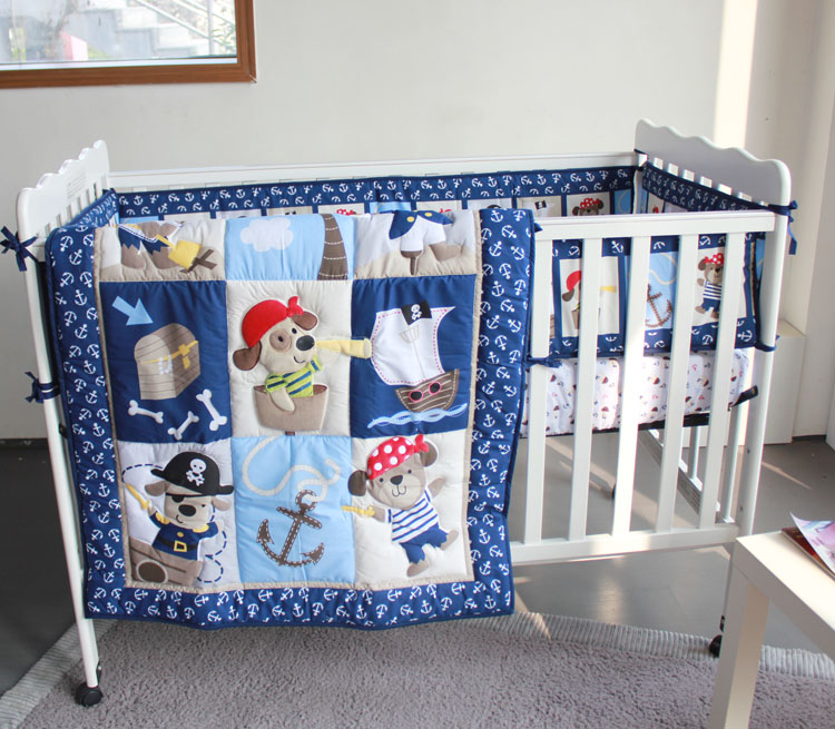 Promotion! 7PCS embroidery baby bedding set ,crib bedding set,Bed Linen, include(bumper+duvet+bed cover+bed skirt)