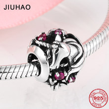 2019 Genuine 925 Sterling Silver Round Unicorn Pink CZ Beads Charms fit Pandora Women Bracelets Bangles DIY Jewelry Making(China)