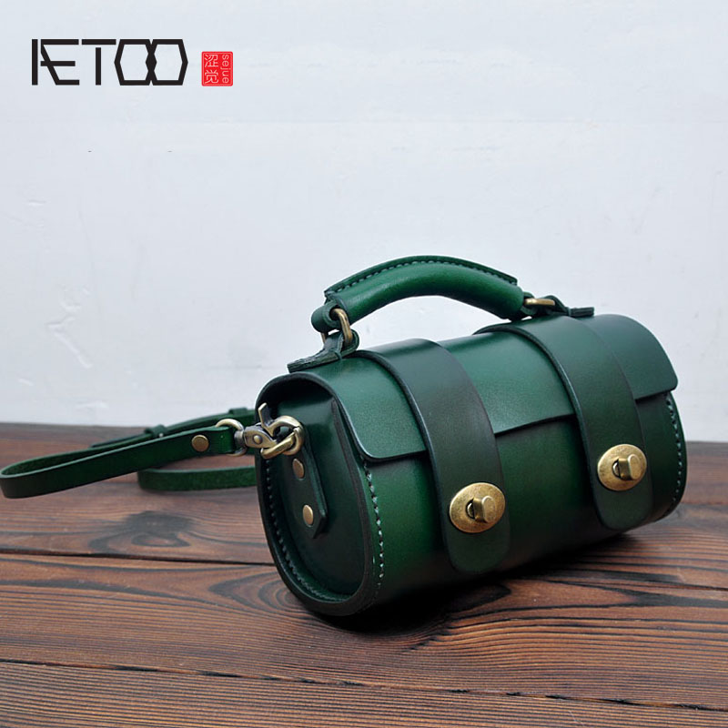 AETOO Original handmade leather mini retro small round bag Messenger bag head cowhide tannage ladies handbag