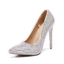 Buty z kryształkami kolorowe Rhinestone szpiczasty nosek sukienka wykonać jasne błyszczące seksowne panie pompy kobiece Super wysokie szpilki