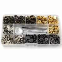 4Style 40-120Pcs/Pack Set Metal Snap Fastener Press Stud Buttons Leather  Craft Snap Fasteners Snaps Button Press Studs with 633#