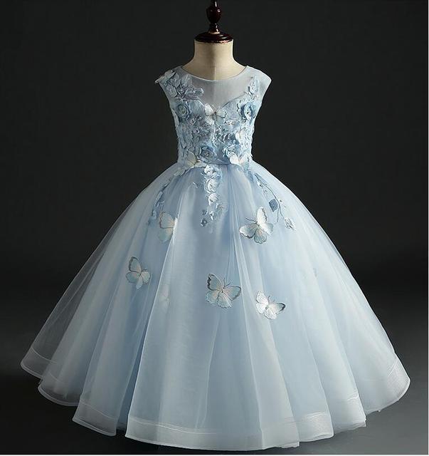 b48ae6aae906 Elegant Sky Blue Tulle Girls Pageant Dress Bead Floral Flower Girl ...