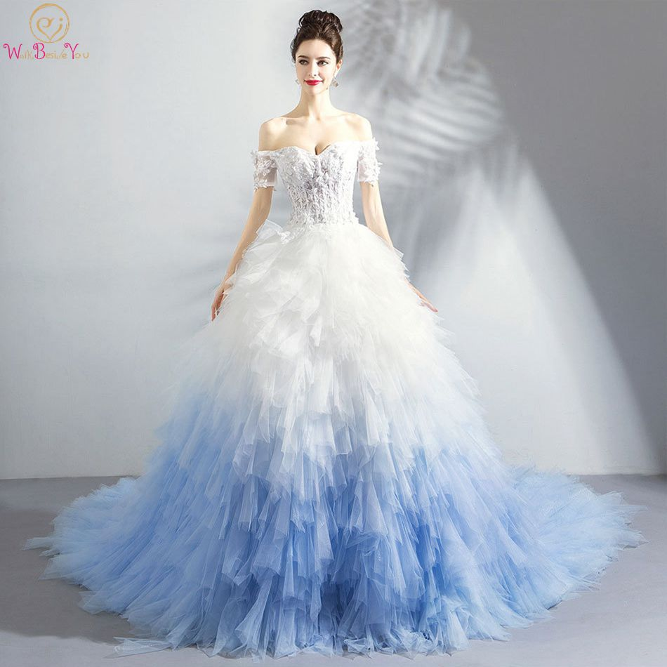 Walk Beside You Chapel Train   Prom     Dresses   White and Blue Gradient Color Off Shoulder Sweetheart Tiered Ruffles Evening Gown 2019