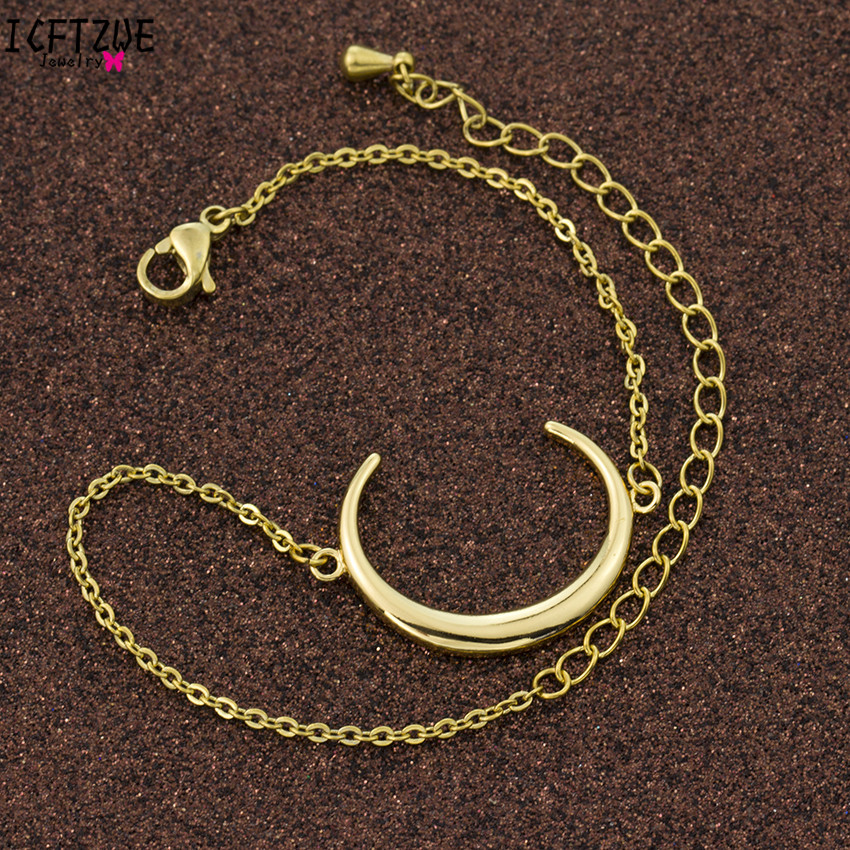 ICFTZWE Gold Colour Islam Crescent Bracelets Moon Charms Body Jewelry Stainless Steel Bracelet Femme Hand Accessories For Women