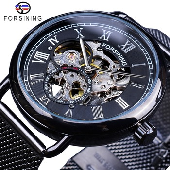 Forsining Classic Black Silver Skeleton Clock Mesh Band Design Waterproof Men's Mechanical Watches Top Brand Luxury Montre Homme forsining 3d skeleton royal retro design blue steel mesh band golden movement men mechanical male wrist watches top brand luxury