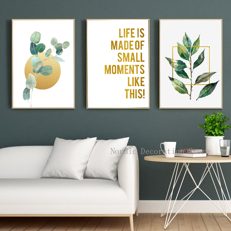 Nordic Green Leaf Posters And Prints Gold Letter Wall Art Canvas Painting Wall Pictures For Living Room Canvas Art New Frameless