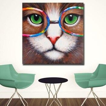 Immagini di Arte della parete Per Soggiorno Complementi Arredo Casa Pop Art Gatto-Occhi-verde-con-occhiali-di -colori della pittura a Olio della Tela di canapa Pittura Stampato