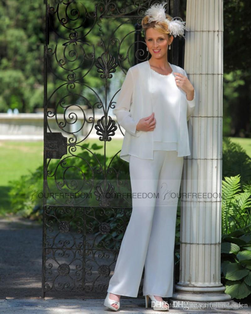 Plus Size Ivory Mother Of the Bride Groom Pant Suits with Long ...