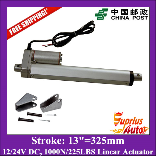 Free Shipping DC12V/24V 13inch/325mm electric linear actuator, 1000N/100kgs load linear actuators with mounting brackets 4pcs od 16mm x 800mm cylinder liner rail linear shaft optical axis