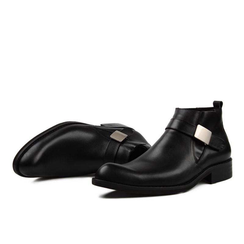 Chelsea Botas Outono Cinta Genuíno Heinrich Dedo Homens Black Fivela Inverno De Apontado New Marca Couro Dos Sapatos Ayakkabi rqrxzAUnw