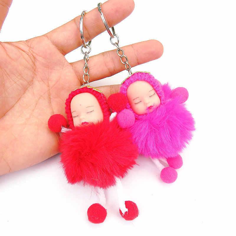 Jóias da moda bonito do sono do bebê boneca bola titular anel chave do carro chaveiro pingente charme pingente de chave anel de pele de pelúcia nova chave bonito