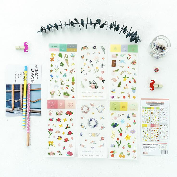 6 pcs/pack Flowers Bouquet Garland Stickers Diary Sticker Scrapbook Decoration PVC Stationery Stickers цена и фото