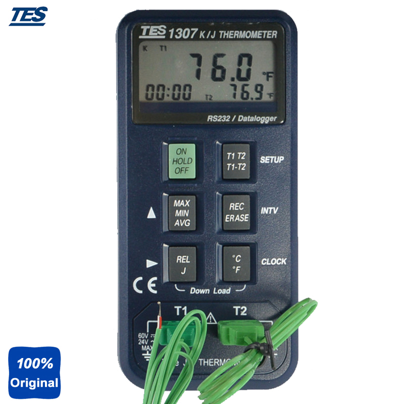 TES 1307 K/J Type Thermocouple Thermometer Input Data Logging Digital Industrial Thermocouple Thermometer (8000 Record Capacity)