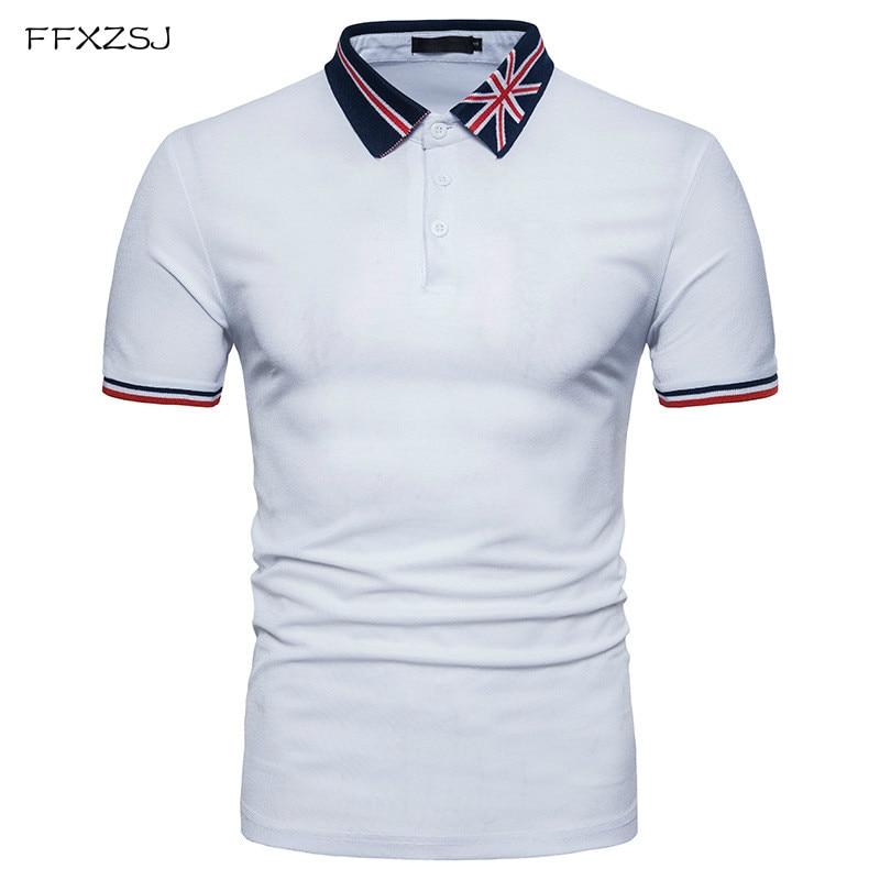 2018 New Tops brand slim   polo   shirt Male Casual style summer Flag pattern Short Sleeve   POLO   shirt dress men EU/US large size
