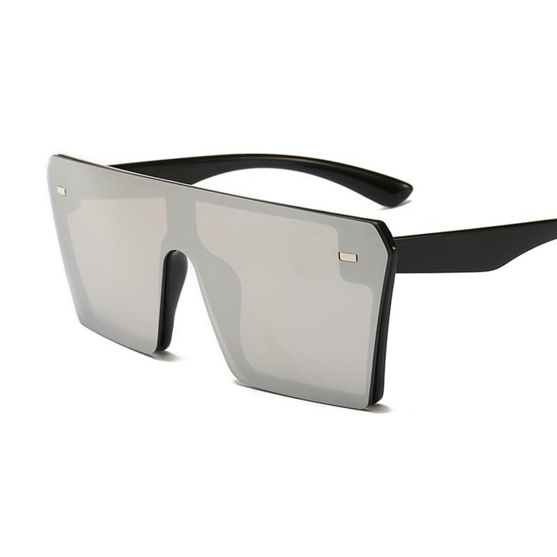 Oversized Square Sunglasses Women 2021 Luxury Brand Fashion Flat Top Red Black Clear Lens One Piece Men Gafas Shade Mirror UV400 20
