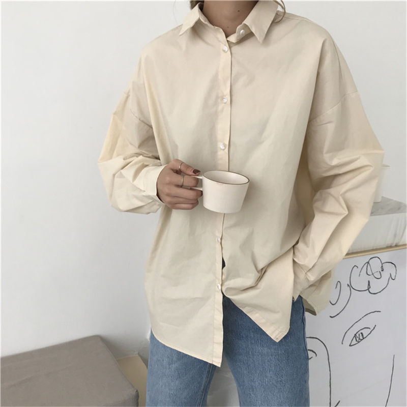 HziriP Women Blouses 2021 Spring Solid Blouse Loose Casual Vacation All Match Women Tops Shirts Blusas Camisas Mujer 4 Colors