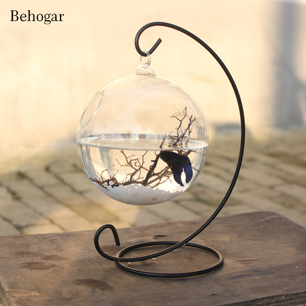 Behogar Clear <font><b>Round</b></font> Shape Hanging Glass <font><b>Aquarium</b></font> Fish Bowl Tank Flower Plant Vase Home with 28cm Height Rack Holder Fishbowls image