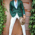 Fashion Green Blazer For Men One Piece Suit Jacket Custom Made Single Breasted Two Buttons Lapel Pockets Tailor Made Coat