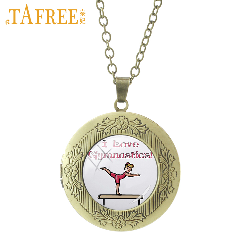 TAFREE Balance beam girl Necklace cartoon picture locket simple structure convenient operation glass gymnastic jewelry SP134 locket