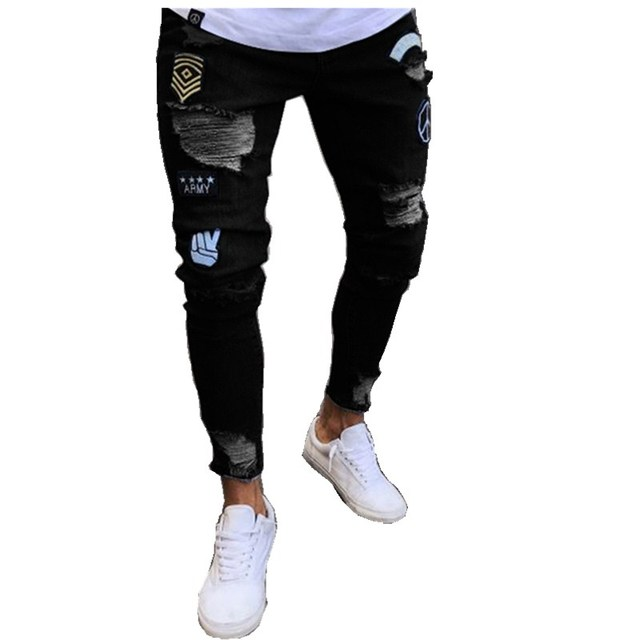 20a07e3f776 Men's Destroyed Frayed Jeans Ripped Distressed Skinny Slim Fit Denim Jeans  Tapered Pencil Pants Bleached Trousers Dropshipping
