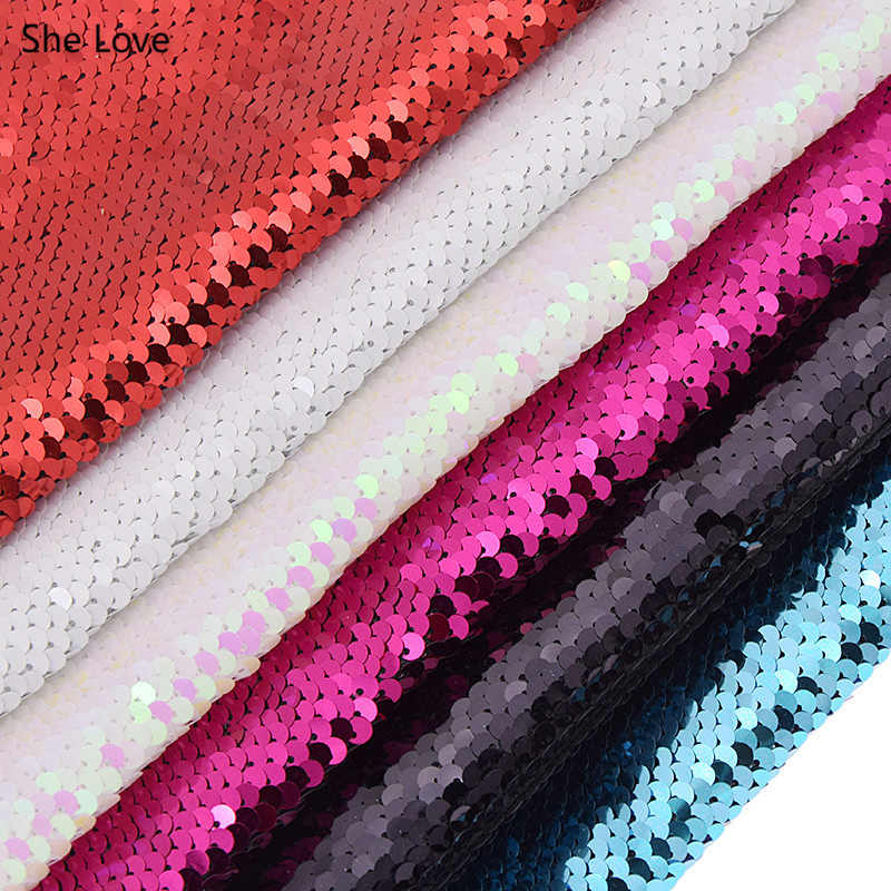 She Love Double Face Sequins Fabric For Handbags Garments DIY Sewing Fabric Material Craft Making Accessories
