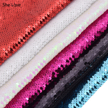 Chzimade A4 Double Face Sequins Fabric For Handbags Garments DIY Tissue Sewing Fabric Material Craft Making
