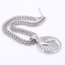 Latest Luxury Big Dubai Silver Plated Crystal Jewelry Sets (2 colors)