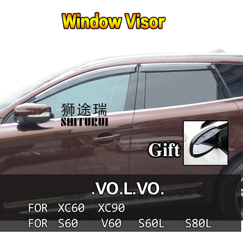 Car Styling Awnings Shelters Window Visors rain eyebrow For Volvo xc60  xc90 S60 V60 S60L S80L 2015-2017 2018 2016 2014 2013 12