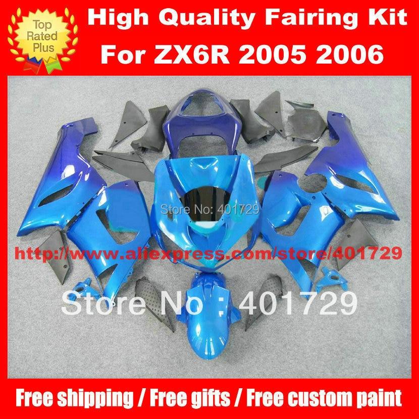 Motorcycle body work for Kawasaki Ninja ZX-6R 05 06 2005 2006 blue/gray ABS Plastic fairing kit with free heatshield