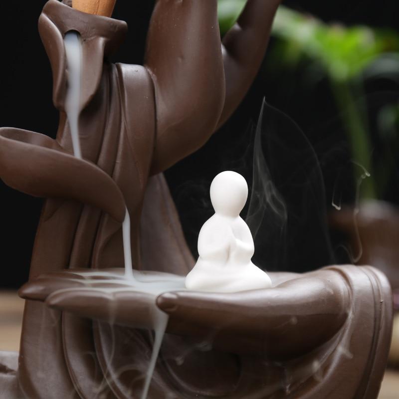 Image 5 - Hot Ceramic Backflow Incense Burner Tathagata Buddha Incense Cones Stick Holder Creative Home-in Incense & Incense Burners from Home & Garden