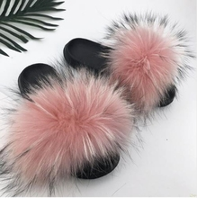 43c4484311e0ce 2018 New Real Fox Fur Slides Mix Colors Furry Sliders Women Ladies Fur  Slippers Top Quality