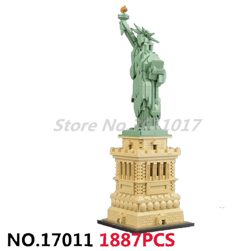 купить Stacking Block Architecture Series Building Blocks Statue of Liberty Compatible 21042 Model Educational Toys For Children по цене 4146.28 рублей