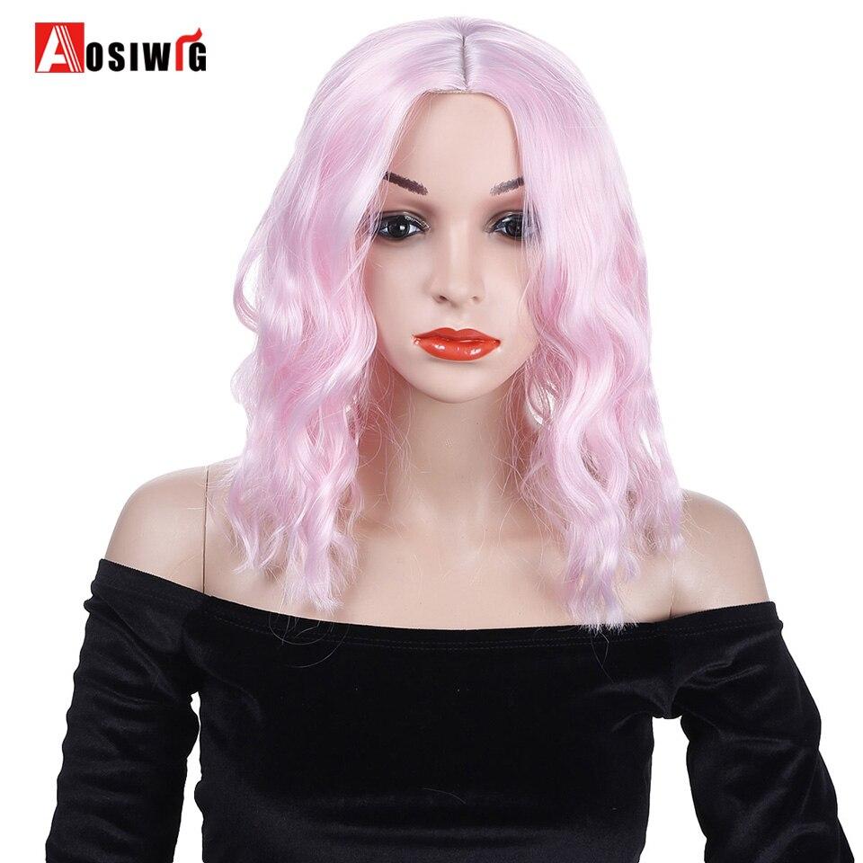 Kort Afro Kinky krøllet paryk pink hår kostumer parti høj temperatur fiber Cosplay paryk-5239