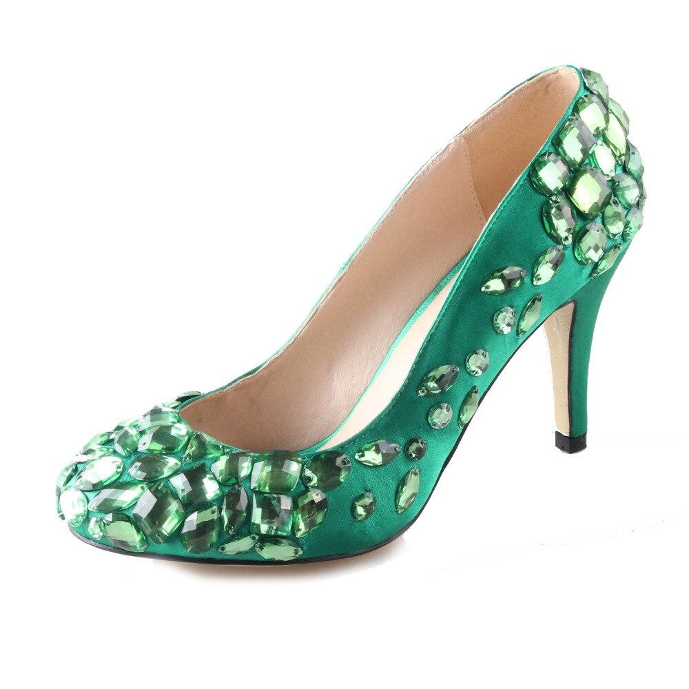 Parti Cousu Un Femme Robe Jade Orteil Chaussures Avec Banquet Mariée Et Vert De Émeraude Talon Satin Cristaux Main Pompes Mariage HfP0wXTqHc