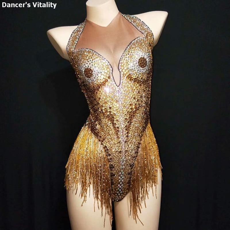 Rhinestone Tassel Stretch Female Song Catwalk Show Dj Ds Jumpsuit Dance Latin Fake Meat piece Dance