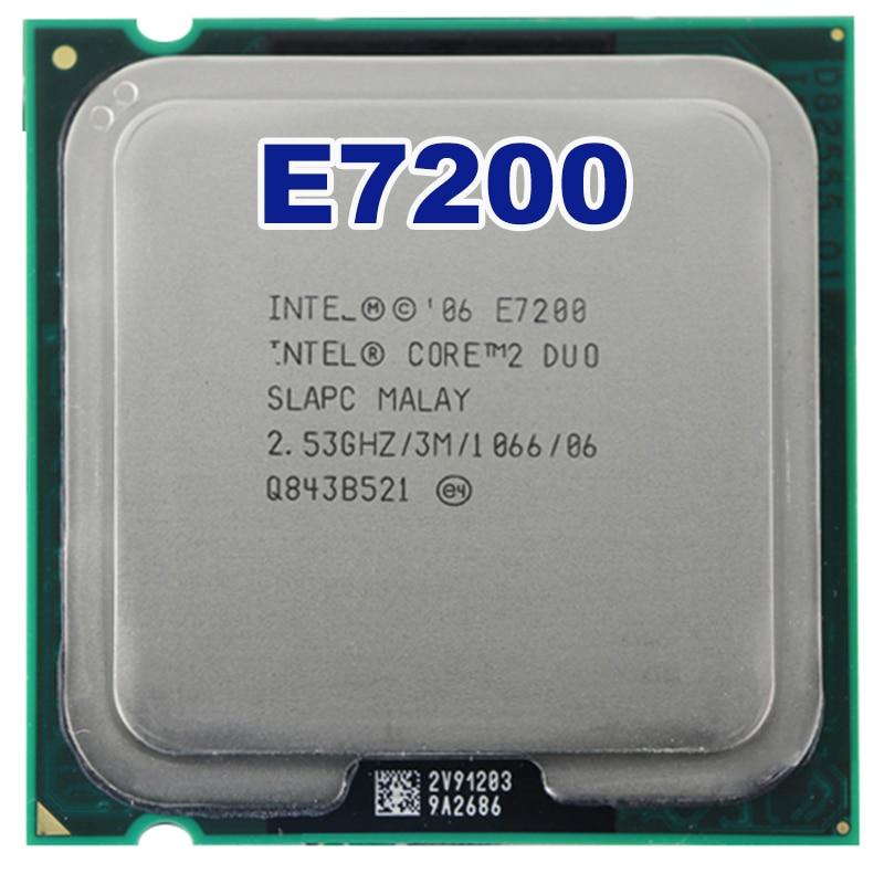 Original Core 2 Duo E7200 CPU Processor (2.53Ghz/ 3M /1066GHz) Socket LGA 775 free shipping