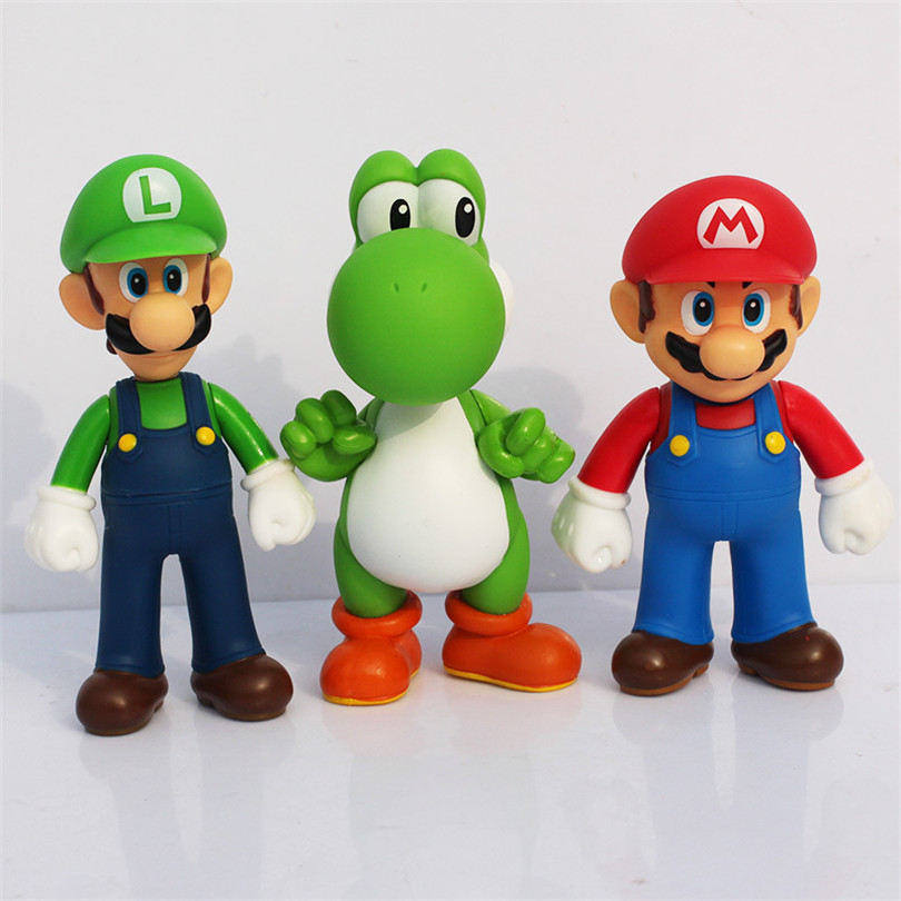 New 3pcs/set Super Mario Bros Luigi Mario Yoshi PVC model Action Figures toy 13cm for children birthday gift super mario bros yoshi plush doll toy with tag soft yoshi doll kid s gift 28cm