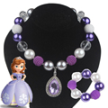 1 Set Princess Sofia Girl Necklace Girls Bubblegum Necklace Purple Amulet Necklace Set of Necklace and Bracelet