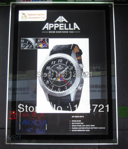 LEVOU display de parede de acrílico cristal de prata quadro a3/super slim levou caixa de luz snap quadros de exibição iluminado