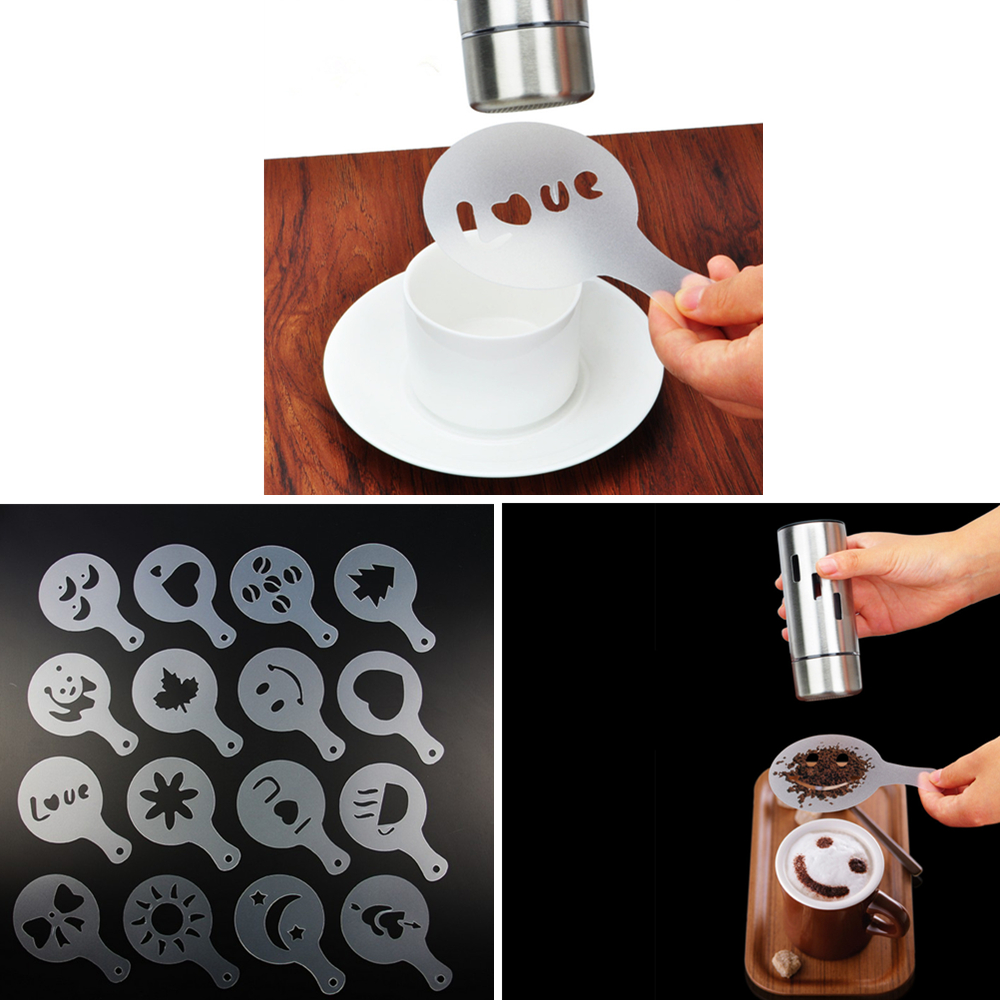 16 Pcs / Set Coffee Foam Spray Template Coffee Stencils Low Price Good Quality Coffeeware Useful Bar Kitchen Tools & Gadgets