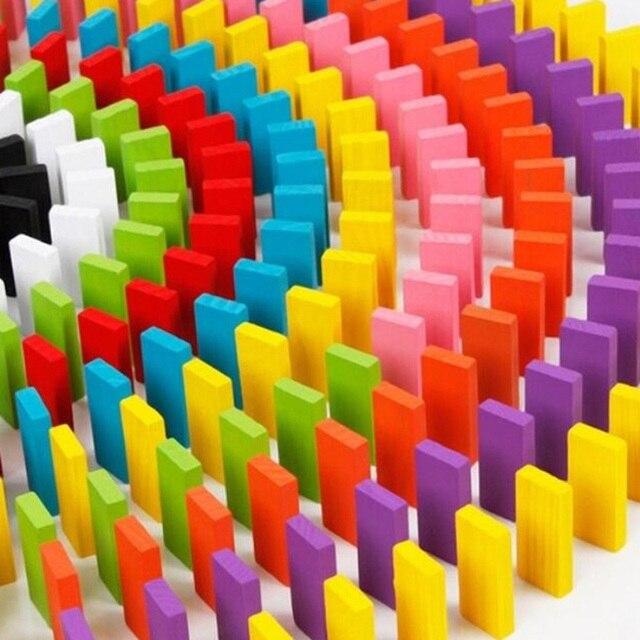 120 pièces/ensemble enfants couleur Sort arc-en-ciel bois Domino blocs début éducatif en bois jouets enfants cadeau de noël